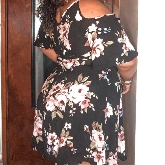 Black flowered mini dress